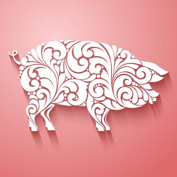 Ornamental decorative pig silhouette design decorative swirls curls elements pattern. logo template for butcher shop, menu. Ornamental decorative pig silhouette design decorative swirls curls elements pattern. logo template for butcher shop, menu mistery stock illustrations