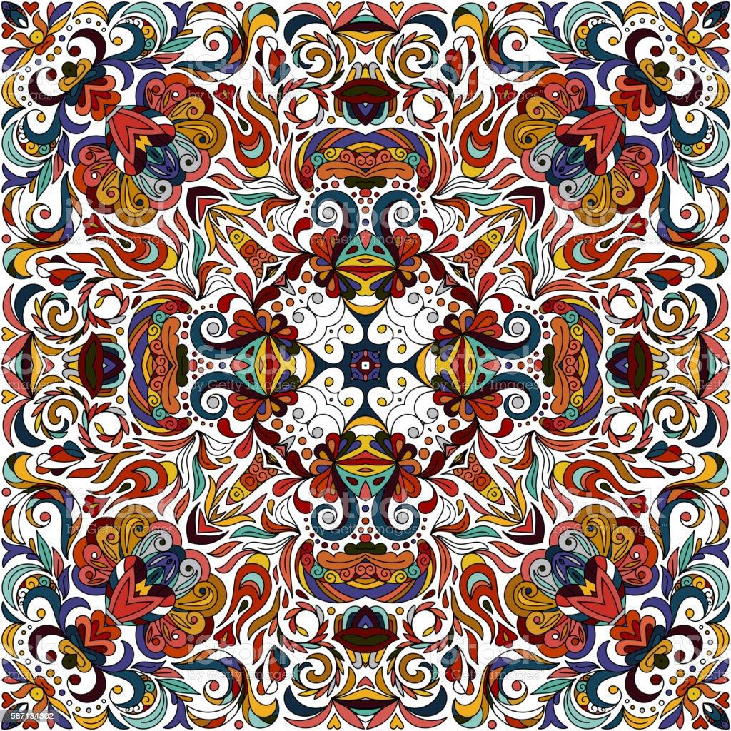 Ornamental doodle floral pattern, design for pocket square, textile,...