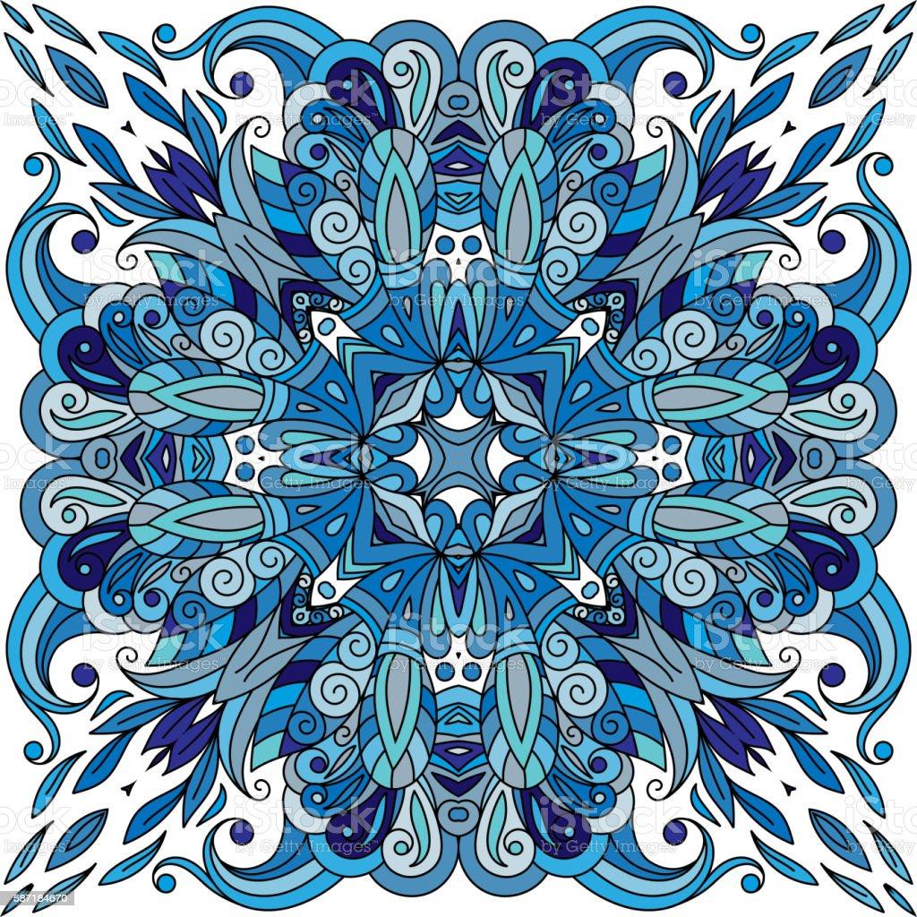 Ornamental doodle floral pattern, design for pocket square, textile, silk vector art illustration