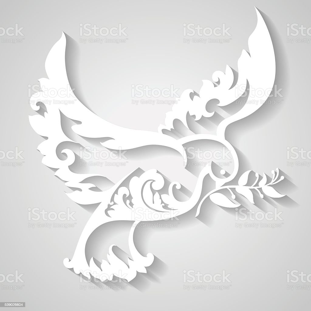 Ornamental dove with olive branch. Symbol of peace. vector art illustration