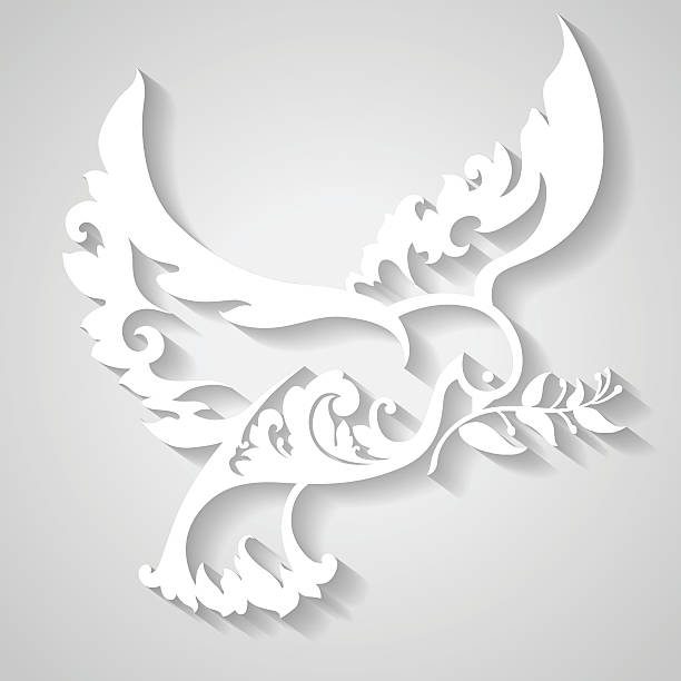 Ornamental dove with olive branch. Symbol of peace. Ornamental dove with olive branch. Symbol of peace. Decorative bird in paper style. Vector illustration mistery stock illustrations