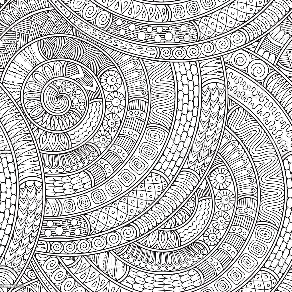 Ornamental ethnic black and white pattern. vector art illustration