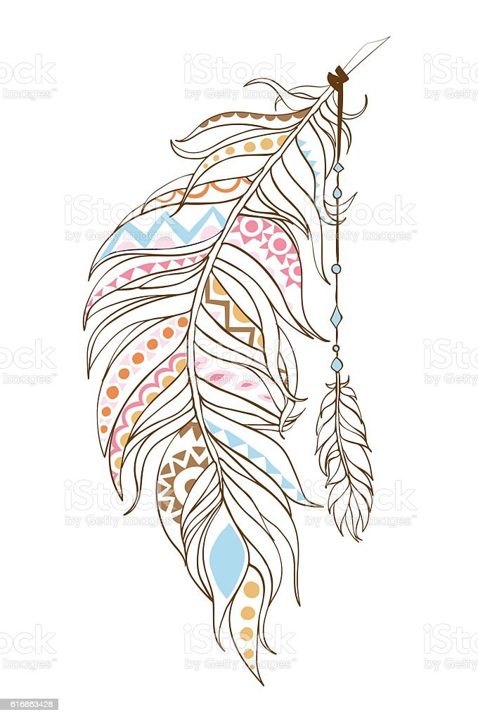Ornamental ethnic feathers in the patterns - Illustration vectorielle