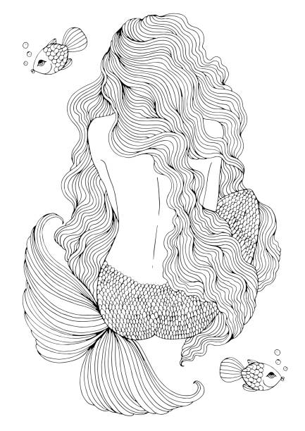 Ornamental fantastic sea mermaid with long wavy hair sits with his back. vector art illustration