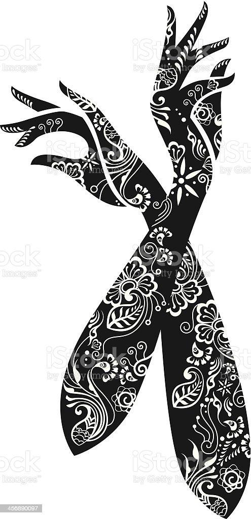 Dekoracyjne kobieta ręce. - Grafika wektorowa royalty-free (Czarno biały)