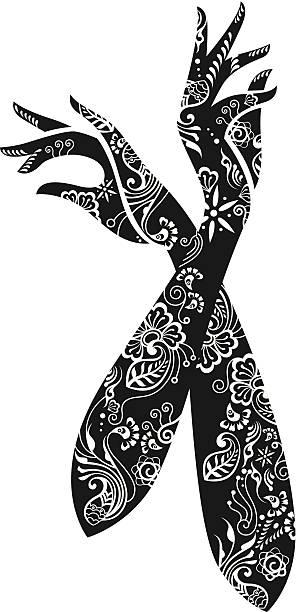 Dekoracyjne kobieta ręce. – artystyczna grafika wektorowa
