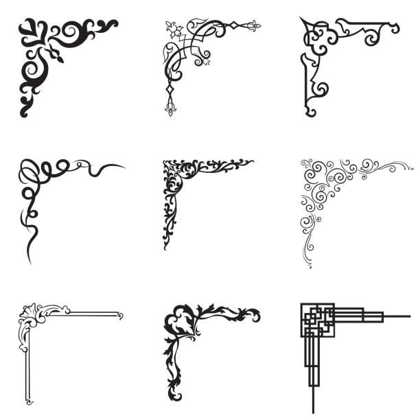 Ornamental floral and geometric corners in different style. Ornamental floral and geometric corners in different style. Vector set of design black and white illustration extreme close up stock illustrations
