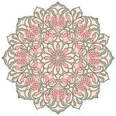 Mandala with floral elements on white background. Oriental ethnic ornament with pomegranate. Design element.