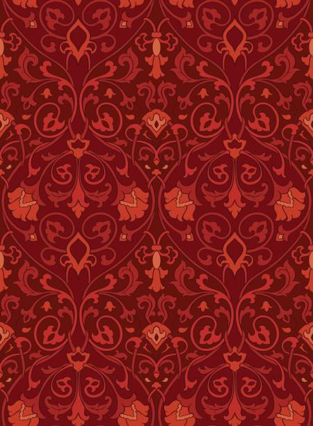 Ornamental floral pattern. Pattern with ornamental flowers. Seamless filigree ornament. Colorful template for wallpaper, textile, shawl, carpet and any surface. tapestry stock illustrations