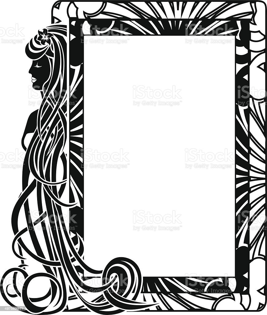 Ornamental frame in style Art Nouveau vector art illustration