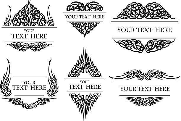 illustrations, cliparts, dessins animés et icônes de ensemble d'ornement cadre - tatouages celtiques