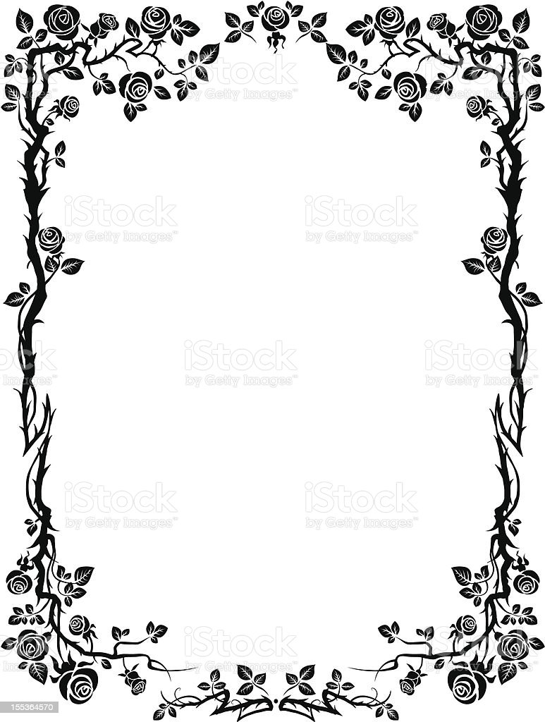 Ornamental frame with roses vector art illustration