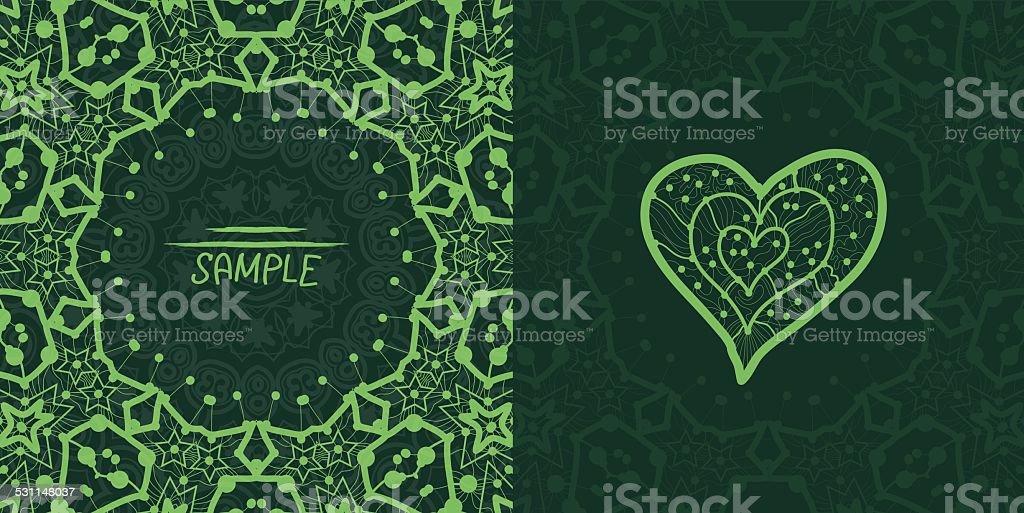 Ornamental green vector square flyer card design. Invitation card. Heart vector art illustration