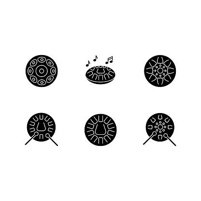 Ornamental handpan black glyph icons set on white space