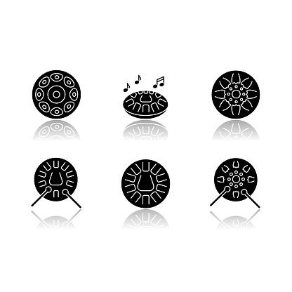 Ornamental handpan drop shadow black glyph icons set