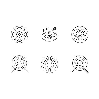 Ornamental handpan pixel perfect linear icons set
