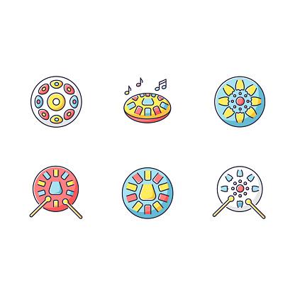 Ornamental handpan RGB color icons set