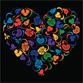 The vector image of a floral decorative heart.