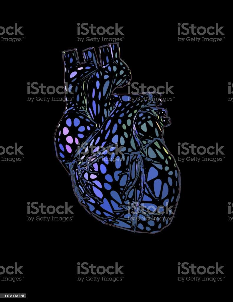 Ornamental Human Heart Glowing On The Dark Bg Stock