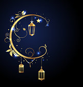 Ornamental Islamic Design for Ramadan Kareem, Moon, Stars, Traditional Lanterns - Illustration Vector