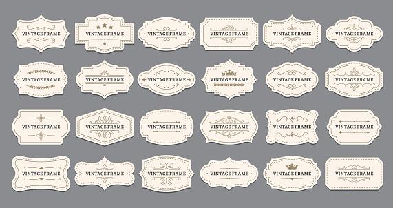 Ornamental label frames. Old ornate labels, decorative vintage frame and retro badge vector set