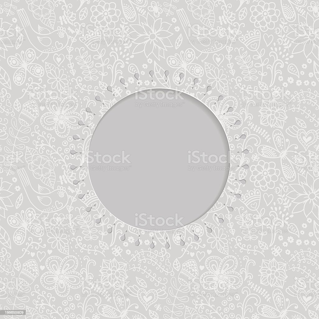 ornamental lace frame, circle background with many details royalty-free stock vector art