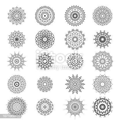 Ornamental Line Pattern. Round Texture. Oriental Geometric Ornament
