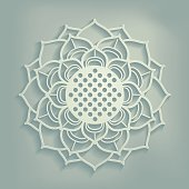 Ornamental lotus flower in a circular, mandala form, stylized as a paper cut, on a dusty, sage background. The lotus symbolizes beauty, wisdom and blissful liberation by meditation.