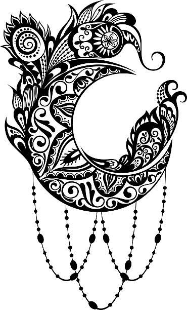 ornamental moon - moon tattoos stock illustrations, clip art, cartoons, & icons