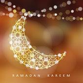 Ornamental moon with lights, Ramadan vector illustration