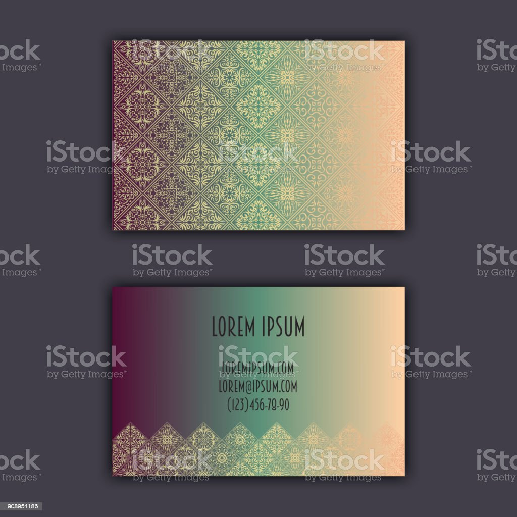 Ornamentale Mosaik Visitenkarten Orientalische Muster Folie