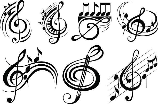 ilustraciones, imágenes clip art, dibujos animados e iconos de stock de notas de música decorativa - tatuajes del sol