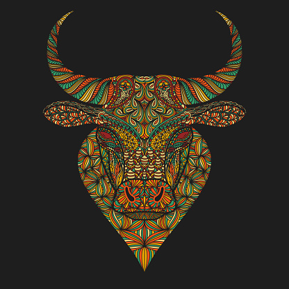 Ornamental ox head. T-shirt print, decoration for the Chinese year of ox. Portrait of a bulls face.