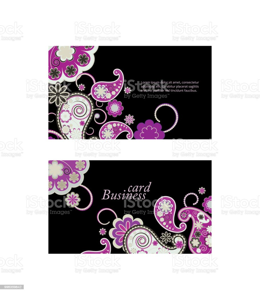 Ornamental Paisley Business Card Stock Vector Art & More Images of ...