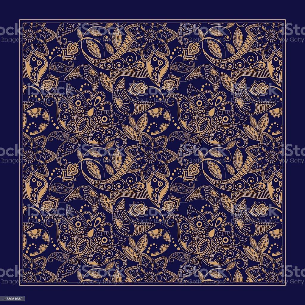 Ornamental Paisley pattern, design for pocket square, textile, silk shawl vector art illustration
