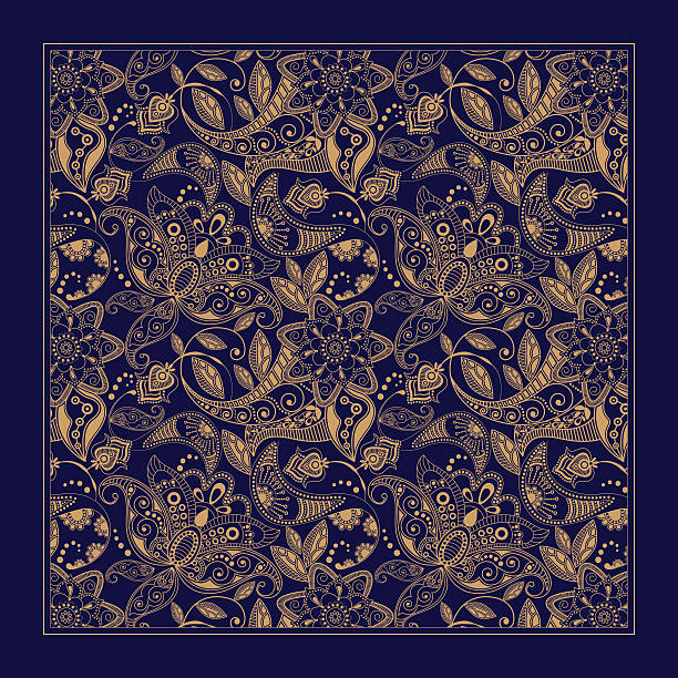 Ornamental Paisley pattern, design for pocket square, textile, silk shawl Ornamental floral pattern, design for pocket square, textile, silk shawl indonesia stock illustrations