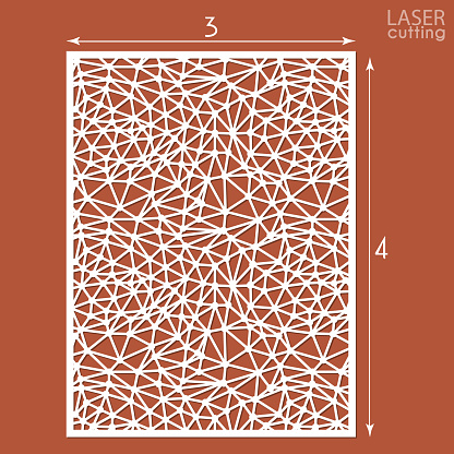 Ornamental panels template for cutting exterior. May be use for laser cutting. Silhouette geometric pattern. Cabinet fretwork polygonal perforated panel. Metal, paper or wood carving. Outdoor screen.