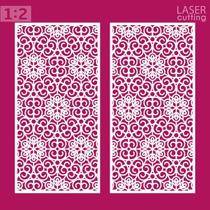 Ornamental panels template for cutting. May be use for laser cutting. Lazer cut card. Silhouette pattern. Cutout paperwork. Cabinet fretwork panel. Lasercut metal panel. Wood carving.