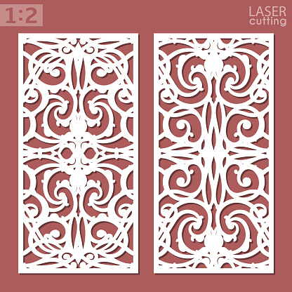 Ornamental panels template for cutting. May be use for laser cutting. Lazer cut card. Silhouette pattern. Cutout paperwork. Cabinet fretwork panel. Lasercut metal panel. Wood carving