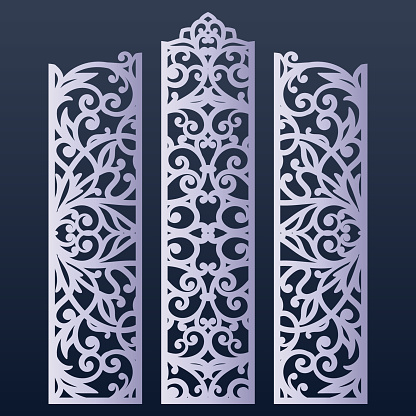 Ornamental panels template for cutting. May be use for laser cutting. Cabinet fretwork screen. Lasercut panels for decoration of the wedding hall.