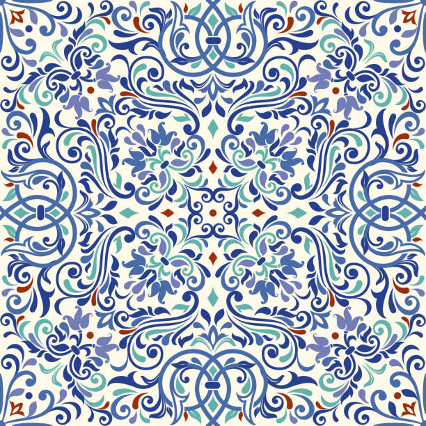 ornamental pattern vector seamless - tile pattern stock illustrations, clip art, cartoons, & icons