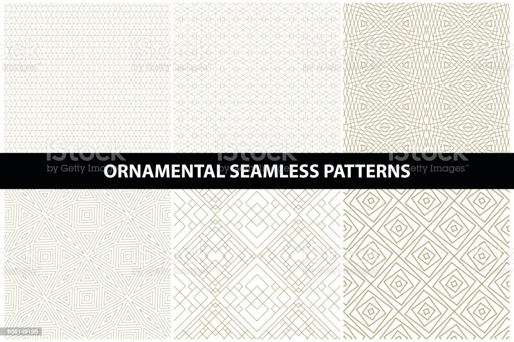 Ornamental patterns - seamless vector collection. Luxury grid backgrounds. vector art illustration