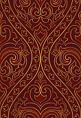 Red abstract pattern. Seamless filigree ornament. Colorful template for wallpaper, textile, shawl, carpet and any surface.