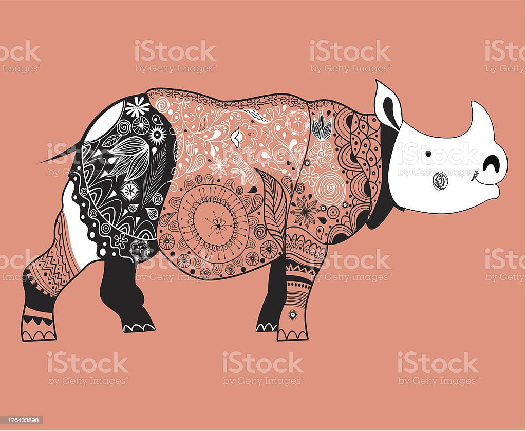 ornamental rhino graphics vector art illustration