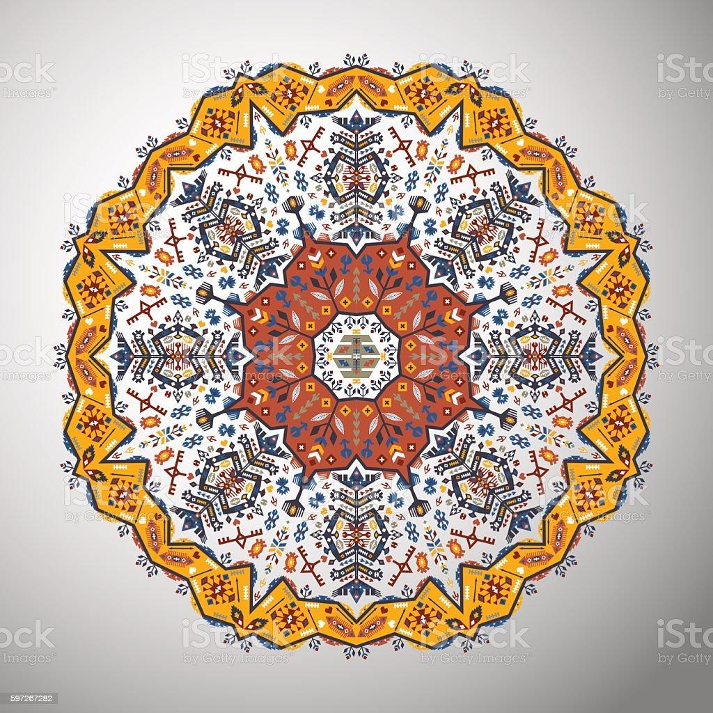 Dekorative Runde bunte geometrische Muster im Azteken-Stil  Lizenzfreies dekorative runde bunte geometrische muster im aztekenstil stock vektor art und mehr bilder von abstrakt