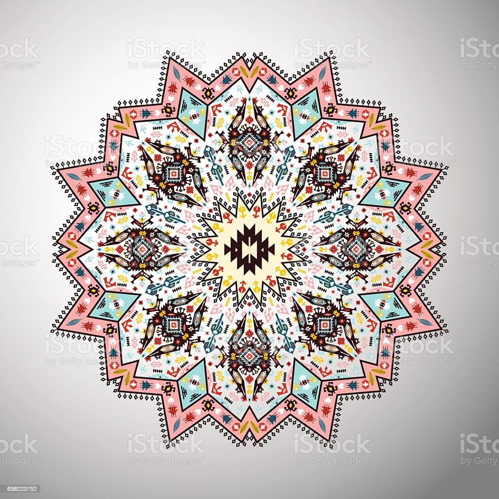 Ornamental round colorful geometric pattern in aztec style vector art illustration