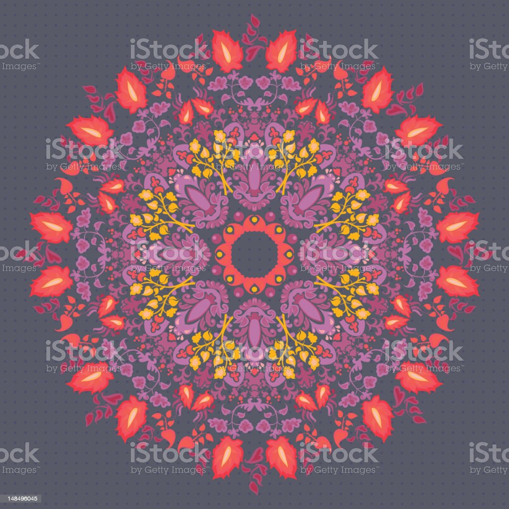 Ornamental round floral  lace pattern royalty-free stock vector art
