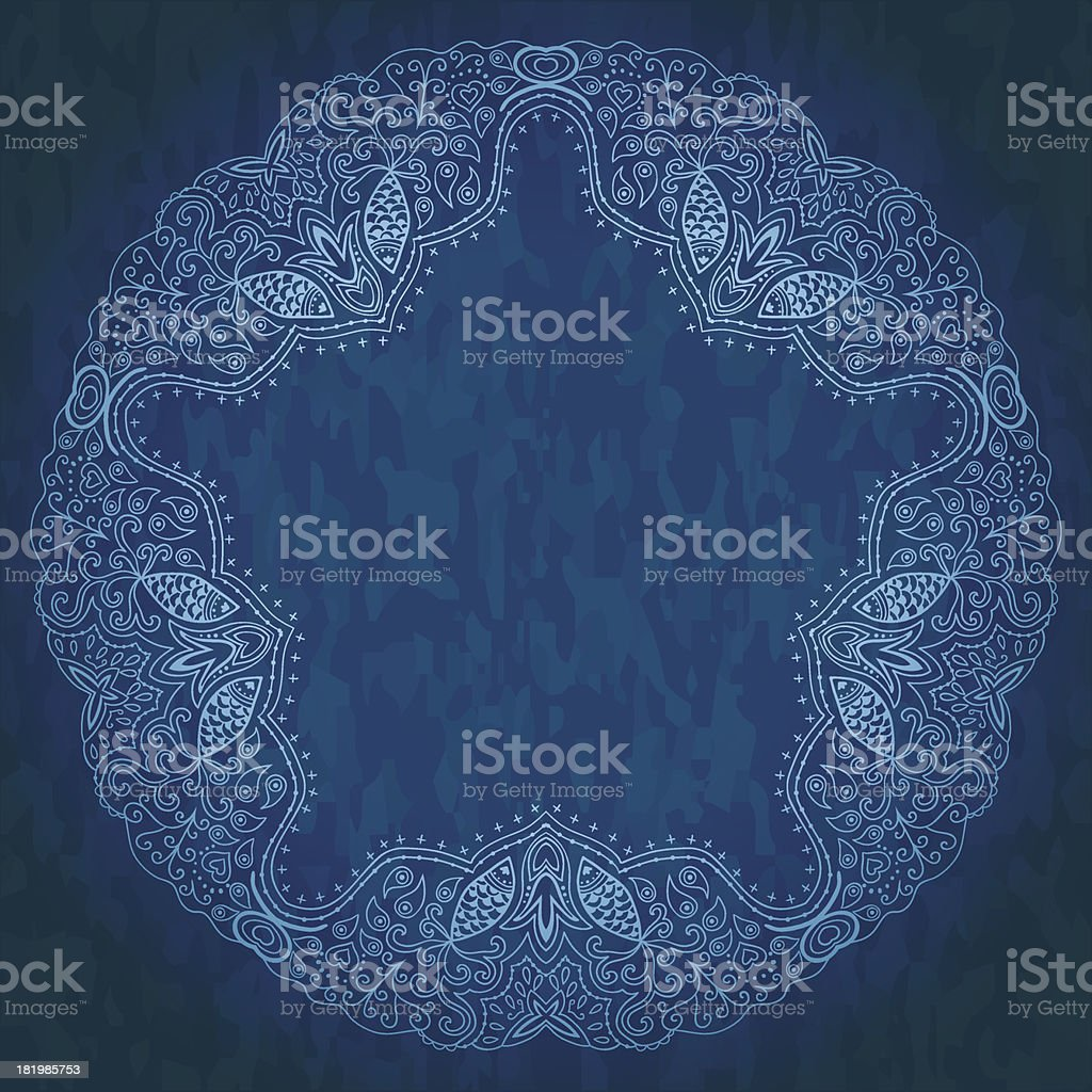 Ornamental round lace pattern, circle background royalty-free stock vector art