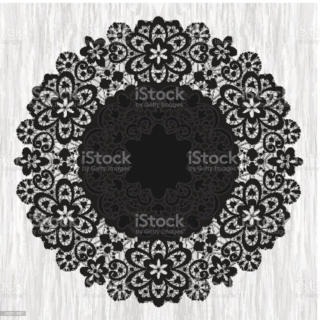Ornamental round lace pattern on grunge background vector art illustration
