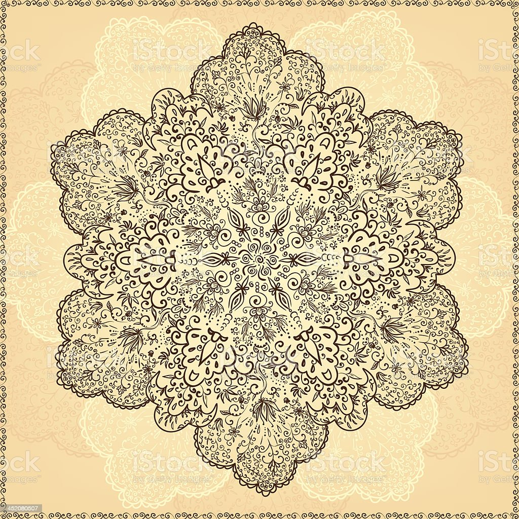 Ornamental round lace pattern. royalty-free stock vector art